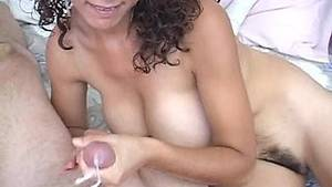 hairy hand job cum - Stunning Latina with a hairy pussy playing with a stranger's big cock
