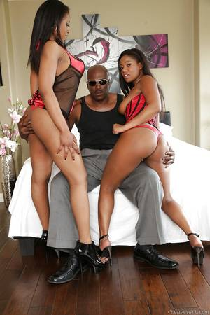 ebony monster cock threesome - ... Big tits ebony ladies are taking part in a wild threesome sex party ...