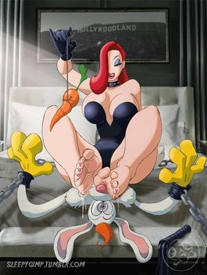 Disney Cartoon Porn Footjob - barefoot bed bondage chains cleavage earrings femdom food footjob gloves  jessica_rabbit large_breasts long_hair malesub orange_hair pendulum