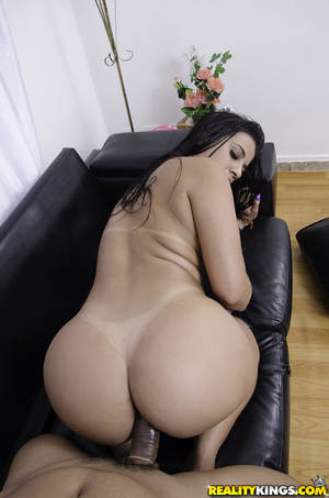 Big Butt Pussy Fucked - ... Big booty Latina Aline Rios taking condom covered cock in shaved pussy  ...