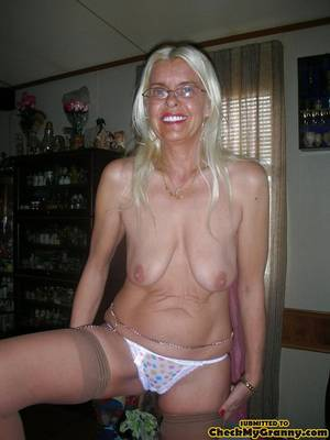 anal in sexy panties - White haired amateur granny posing in sexy - XXX Dessert - Picture 2
