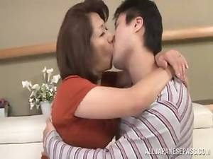 Kissing Mature Porn - Japanese mature kisses her boy