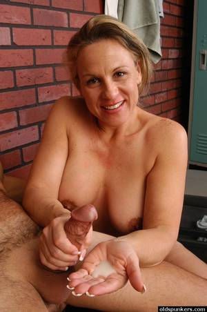 mature woman with - ... Mature woman Summer seducing younger man in weight room for sex ...