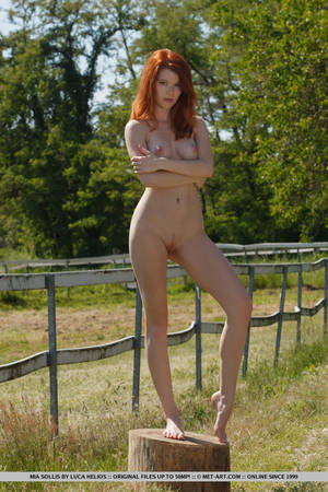 Curvy Skinny Redhead - ... Natural redhead Mia Sollis outdoors in bare feet airing nude tits and  pussy ...