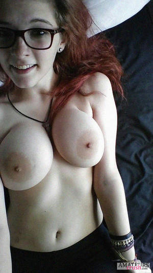 Big Tits With Glasses - Petite busty redhead girl with glasses in nude selfie