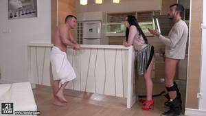 housewife kitchen - Cheating housewife Taissia Shanti is busted and gets double fucked in  kitchen