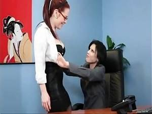 lesbian secretary sex brunette - Office Redhead Secretary with Tatoo Lesbian sex with Brunette Boss